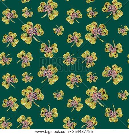 Mosaic Shamrock Seamless Pattern. Hand-drawn Multi-colored Shamrocks On A Green Background. Backgrou