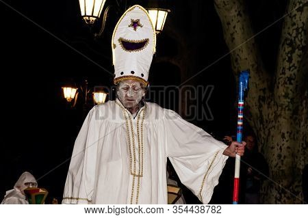 Puget-theniers, France - February 26, 2020: The Leader Of The Traditional Annual Parade Of White Pen