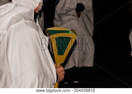 Puget-theniers, France - February 26, 2020: A Participant Holding A Lantern During The Traditional A
