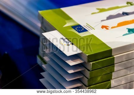 Draguignan, France - March 3, 2020: A Stack Of The European Union Documentation On Finding The Job I