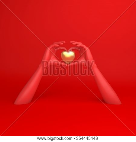 Happy Valentines Day, Red Hands In Shape Of Heart, Valentines Day Background, Red Gold Window Frame