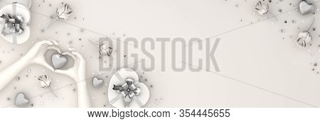 Happy Valentines Day, Valentines Day Background, White Rose Flower Heart Shape Gift Box , Chocolate