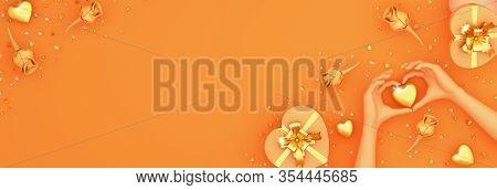 Happy Valentines Day, Valentines Day Background, Orange Rose Flower Heart Shape Gift Box, Hand, Choc