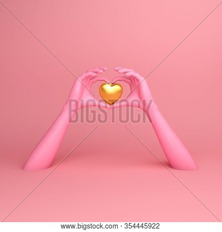 Happy Valentines Day, Pink Hands In Shape Of Heart, Valentines Day Background, Valentines Day Card,