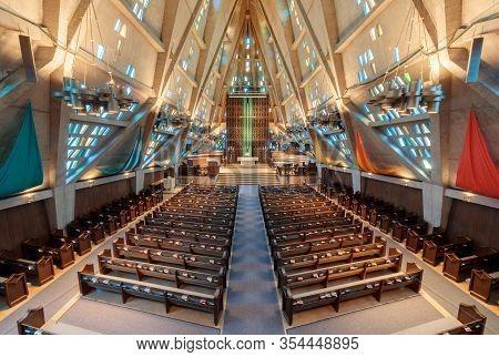 Palo Alto, California - March 6, 2020: First United Methodist Church Sanctuary