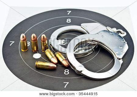 9Mm Luger Ammunition And Handcuff
