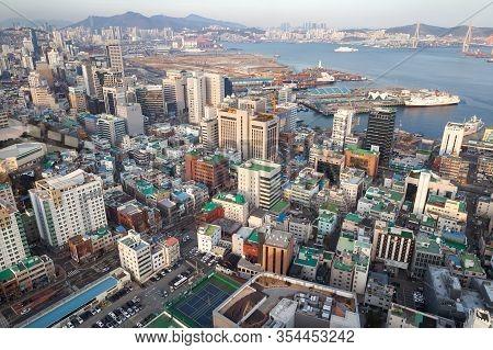Busan, South Korea - March 14, 2018: Coastal Cityscape Of Busan, Bird Eye View. Jung-gu District