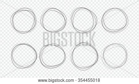 Set Of Round Doodles Hand-drawn. Template For Messages, Design. Rough Draft.