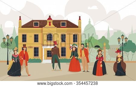 18th 19th Century Old Town Victorian Composition With Outdoor Landscape Historic Cityscape And Chara