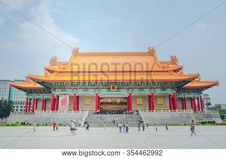 Taipei, Taiwan - May 13, 2019: Famous National Theater Hall Of Taiwan At National Taiwan Democracy S