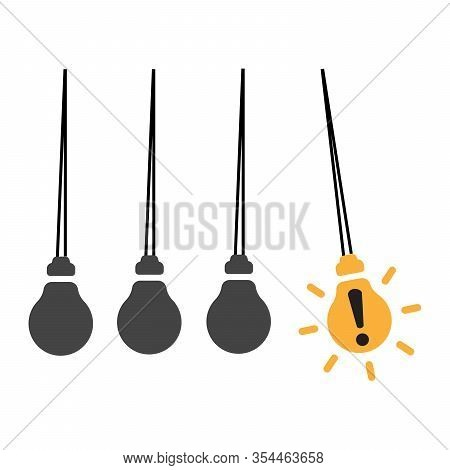 Creative Light Bulb Idea Concept, Business Idea. Attention And Denger Concept. Pendulum With Ligt Bu