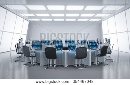 Automation Worker Concept With 3d Rendering Female Cyborg Working In Office