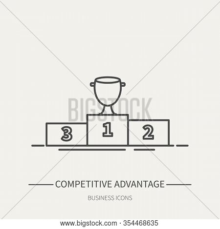 Competitive Advantage - Business Icon In Flat Thin Line Style. Graphic Design Elements For Ad, Apps,