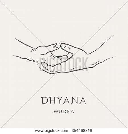 Dhyana Mudra - Gesture In Yoga Fingers. Symbol In Buddhism Or Hinduism Concept. Yoga Technique For M