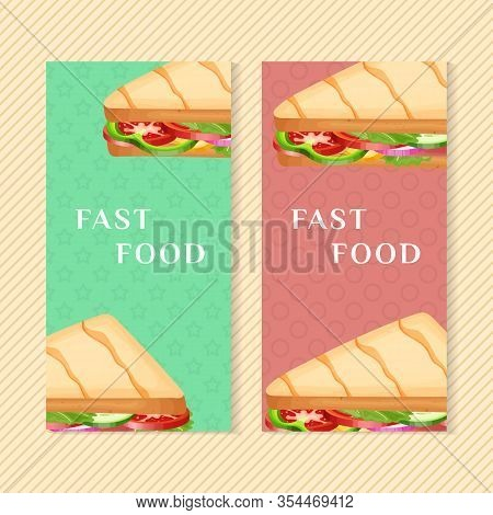 Fast Food Banners With Delicious Panini. Graphic Design Elements For Menu Packaging, Advertising, Po