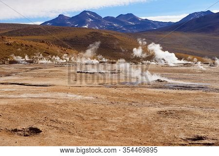 El Tatio Geysers At Sunrise, Chile. Located At 4,320 Meters Above The Sea Level El Tatio Geyser Vall