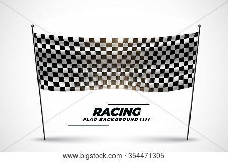 Racing Flag Banner For Start Or Finish Of Race Vector Design Illustration
