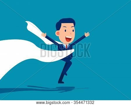 Man Reaching The Finish Line. Competition Concept, Cute Cartoon Vector Design.