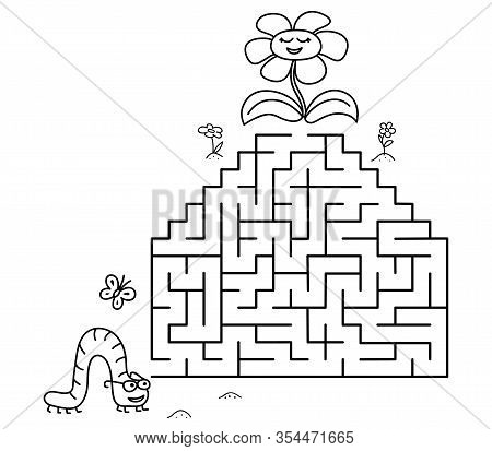 Black Coloring Pages With Maze. Cartoon Caterpillar And Flower. Kids Education Art Game. Template De
