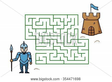 Maze Game With Cartoon Knight And Castle. Kids Education. Color Template Design On White Background.