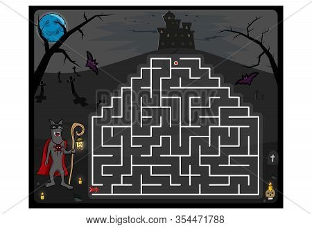 Maze Game With Cartoon Wolf And Castle, Helloween Theme. Kids Education. Color Template Design On Da