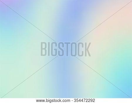 Holographic Gradient Neon Vector Illustration. Surreal Iridescent Mermaid Background. Liquid Colors