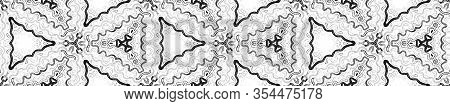 Dark Black And White Seamless Border Scroll. Geometric Watercolor Frame. Alluring Seamless Pattern.