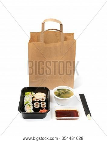 Plastic Containers With Sushi Set Ready For Takeout Delivery