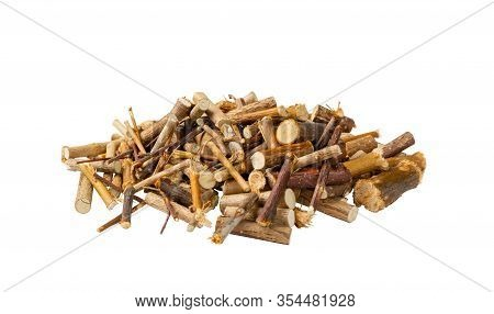 Pile Of Dry Willow Branches, Bough And Twigs Of Deciduous Trees