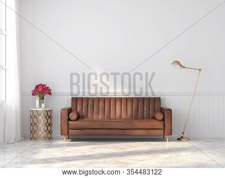 Orange-brown Vintage Leather Sofa In A Classic White Room 3d Render With Marble Floors Decorate The