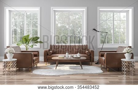 The Vintage Style Living Room Is Decorated With Brown-orange Leather Sofas 3d Render. The Rooms Have