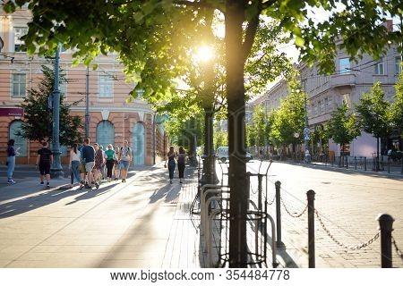 Vilnius, Lithuania - June 18, 2019: Gediminas Avenue, The Main Street Of Vilnius, Where Most Of The