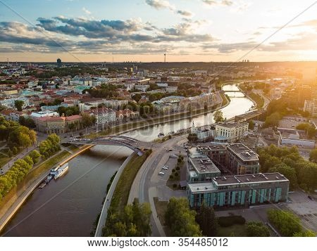 Beautiful Aerial Landscape Of Neris River Winding Through Vilnius City.