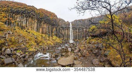 Svartifoss Waterfall Black Basalt Columns Between Autumn Colored Landscape Panorama