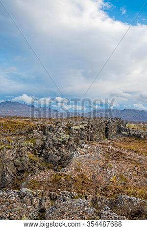 Thingvellir National Park In Iceland Canyon Between Continents Cutting Through Landscape