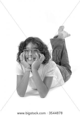 Smart Young Girl Isolated On White Background