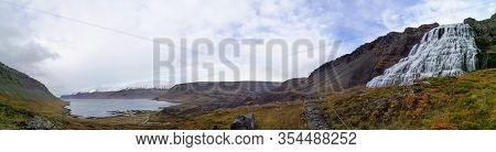 Westfjords Of Iceland Dynjandi Waterfall Panorama Of Fall And The Snow Covered Fjord