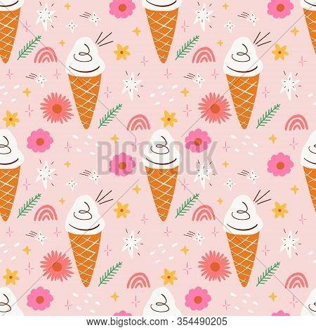 Icecream Doodle Pink Color Seamless Pattern Flat Vector Design