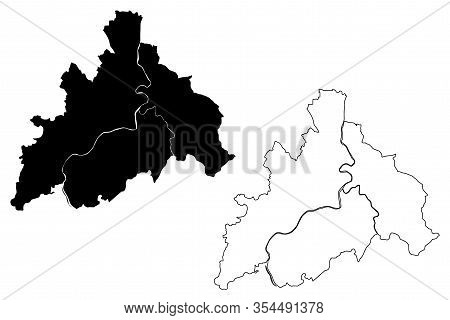 Banja Luka City (bosnia And Herzegovina, Bosnia-herzegovina, Republika Srpska) Map Vector Illustrati