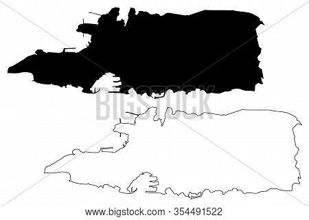 Split City (republic Of Croatia, Split-dalmatia County) Map Vector Illustration, Scribble Sketch Cit