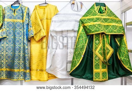Different Solemn Colorful Orthodox Priest's Robes