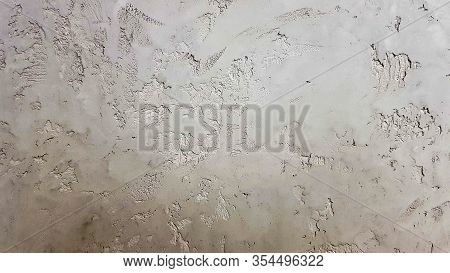 Gray Abstract Background. Beautiful Gray Textured Stucco On The Wall. Background From Gray Stucco.
