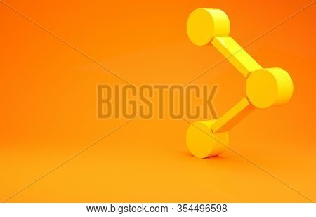 Yellow Share Icon Isolated On Orange Background. Share, Sharing, Communication Pictogram, Social Med