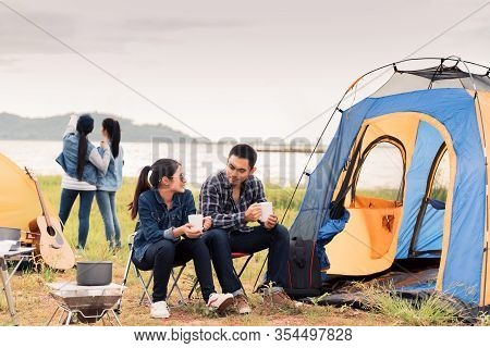 Travel And Camping At Natural Park Thailand. Recreation And Journey Outdoor Activity. Tourist Tent I