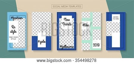 Modern Stories Vector Background. Online Shop Graphic Graphic Mobile. Simple Sale, New Arrivals Stor