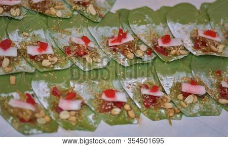 Betel Nut Leaves Also Known As Kwun-ya Or Paan On Display Myanmar