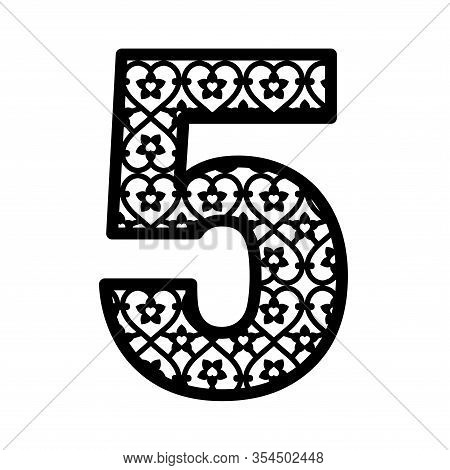 Number 5 For Laser Cutting. Numeral Character Five. Decor Font For Paper Or Die Cut. Numeric Date Te