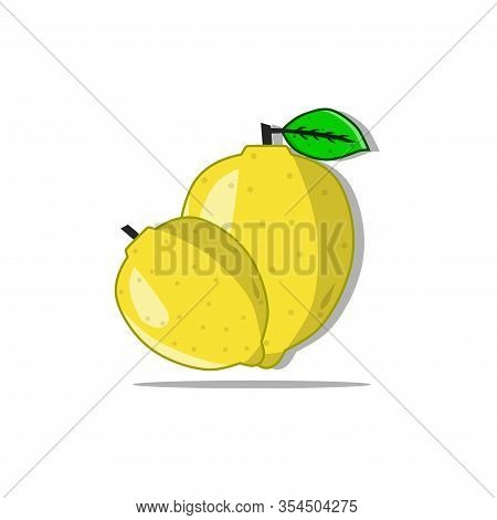 Vector Illustration Of Fresh Yellow Lemon. Lemon Contains Vitamin C Which Is Quite High