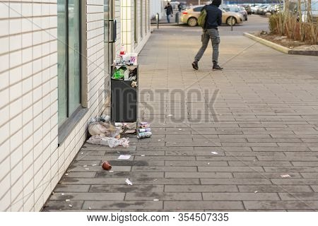 Moscow. Russia. December 2019. Garbage Crisis. Overflowing Street Trash Bins. Poor Cleaning Of The L