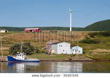 Picturesque rural scene with windmill